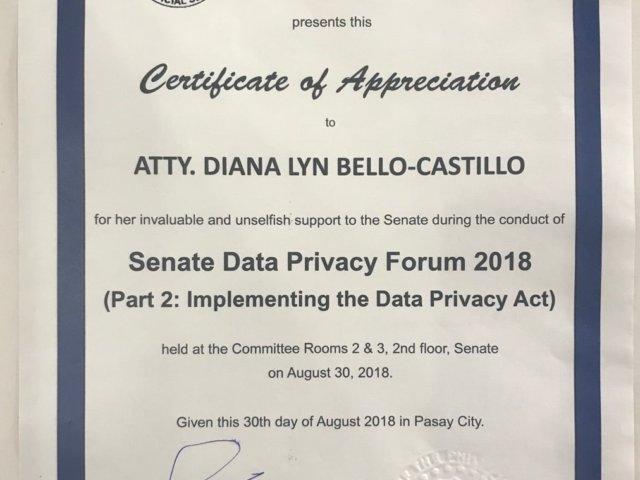 SENATE DATA PRIVACY FORUM 9 - Atty. Diana Bello-Castillo