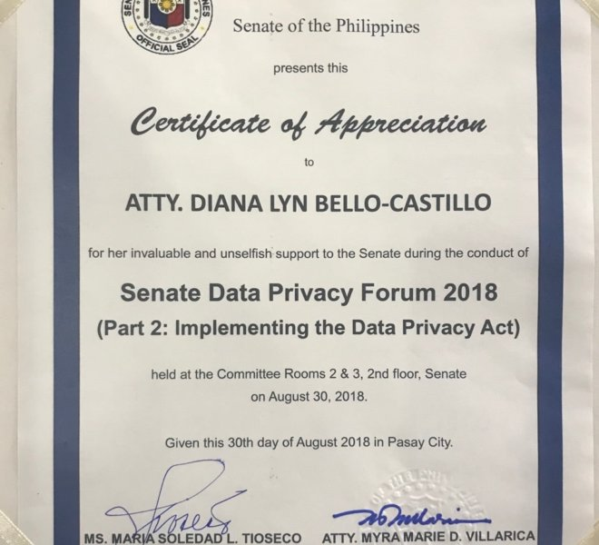 SENATE DATA PRIVACY FORUM 9 - Atty. Diana Bello-Castillo